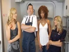 Blonde Air hostess Sucking In Plane.