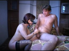 Brunette MILF gets threesome and fucked in the ass.