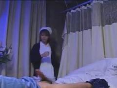 Japanese nurse use toys and eats cum.