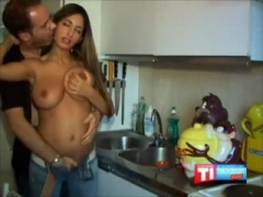 An ugly guy and his GORGEOUS girlfriend. Check out these titties!.