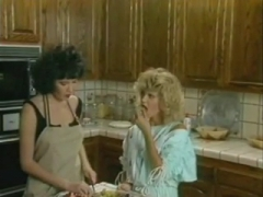 Hairy lesbians fucking in the kitchen.