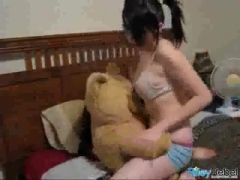 Sexy Teen Dancing with her teddy bear.