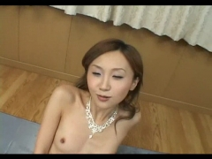 Cute asian wants a creamy facial .