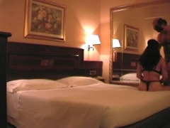 Masked amateur couple having sex at the hotel.