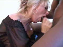Blonde girl going WILD on a big dick.