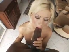Sexy Blonde sucking A Big Black Cock