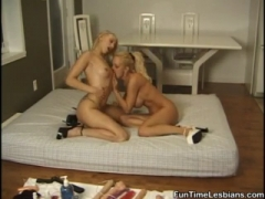 Two blonde Lesbian Roommates Making Out.