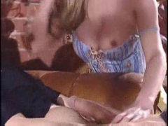 Tight blonde  seduces the man of the house.