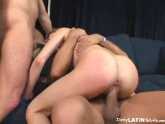 Sexy girl takes on two guys at once     .