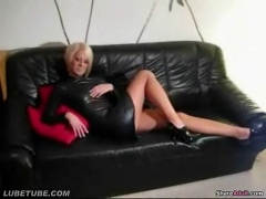 Blonde skank sucks and jerks off a horny dude     .