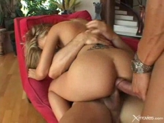 Hot blonde smashed in both fuckholes at once.