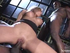 Nasty asian chick  in an interracial gangbang.
