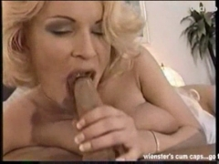 Mature lady sucks and swallows.
