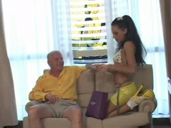 Sexy babe fucking an old dick.