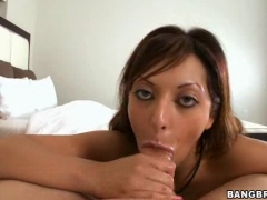 Sexy harlot Audrianna Angel sucks and strokes dick     .