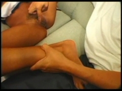 Anal and creampie on the sofa.