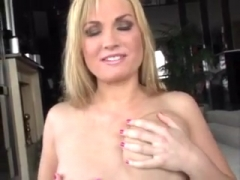 Cute blonde with small tits Blowjob.