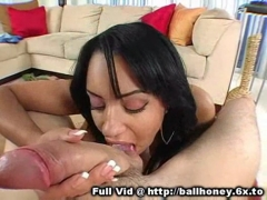 Ebony honey sucks cock POV.