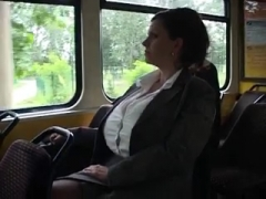 Huge tits on the bus.