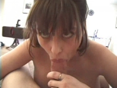 Girl gives POV blowjob.