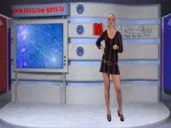 Russian Moscow Girl Doing TV News.