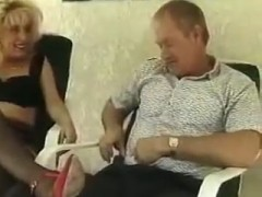Blonde Milf in Black Stockings Sucks and Fucks.