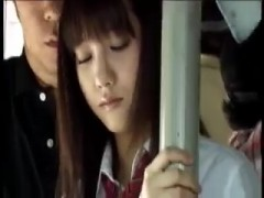 Japanese cute schoolgirl gets fuck in bus.
