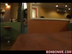 Girl give blowjob in restaurant and fucked outside.