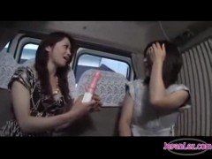 Asian girl fucked with vibrator by slim girl on the minibus.