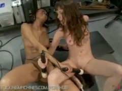 Two amateur girls fuck each other with machines, both cum, one does a DP..