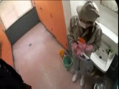 Japanese cleaning lady forced.