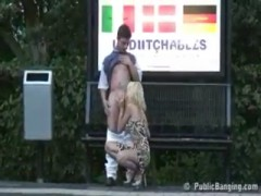 Public sex gorgeous blond at a train station.