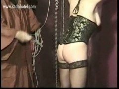 Master finger fucks tied beautiful slave with nice tits and.