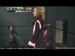 Big tits pornstar Nikki Sexxx gets DP punishment in the ring for her latene.
