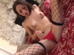 Leah Luv masturbates in stockings.