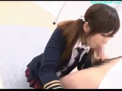 Schoolgirl on her knees giving blowjob cum to mouth on the f.