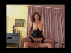 Granny in lingerie loves young man cock.