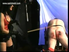Mistress with trained body and big tits spanks bend over sla.