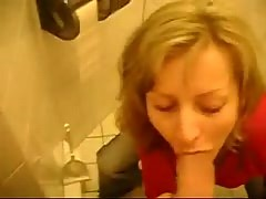 Busty Blonde GF, Fucking At Public Toilet.
