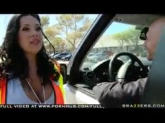 Big Titted MILF crossing guard Sienna West fucked by passing driver.