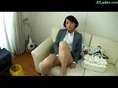 Office lady showing off her pussy stimulated with vibrator o.