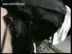 Horny nun with her skirt up lying on knee of priest is hit o.
