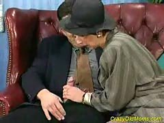 Crazy old mom gets fucked hard.