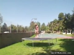 Trampoline chick squirted.
