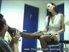 Foot worship and foot slaves.