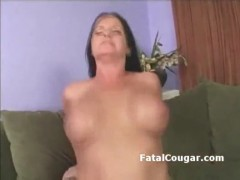 Big boob cougar with trimmed pussy is rammed with pussy2mout.
