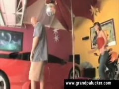 Pole dancer sucks old balls