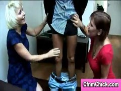Humiliating cfnm handjob by two british ladies
