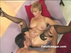 Bigtits older slut in pantyhose gags on fat dick and gives t
