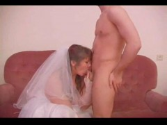 Boy and mature woman wedding night